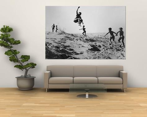 Bushman Children Playing Games on Sand Dunes Wall Mural