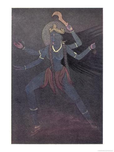 The Goddess Kali the Malevolent Aspect of Shiva's Wife Parvati Giclee Print