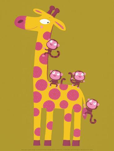 The Giraffe and the Monkeys Art Print