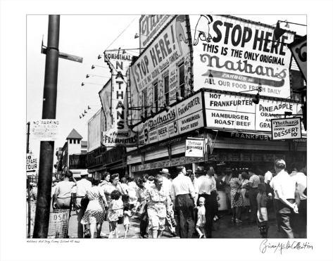 Nathan's Hot Dogs, Coney Island, New York, c.1960 Art Print