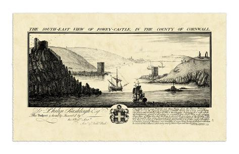 Vintage Fowey Castle Giclee Print