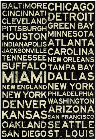 National Football League Cities Vintage Style Poster