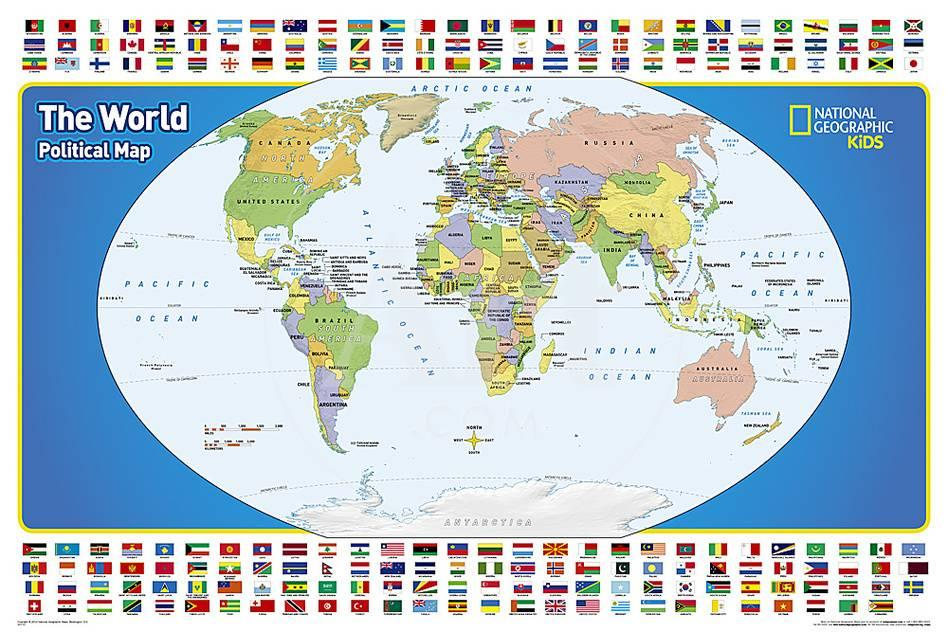 National geographic kids world political map posters allposters privacy preference centre gumiabroncs Choice Image