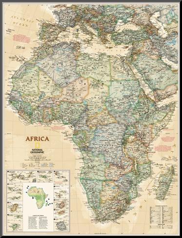 National Geographic, Mapa da África, modelo executivo Impressão montada