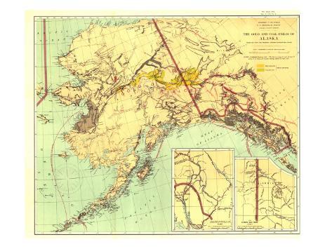 1898 Gold and Coal Fields of Alaska Map Art Print
