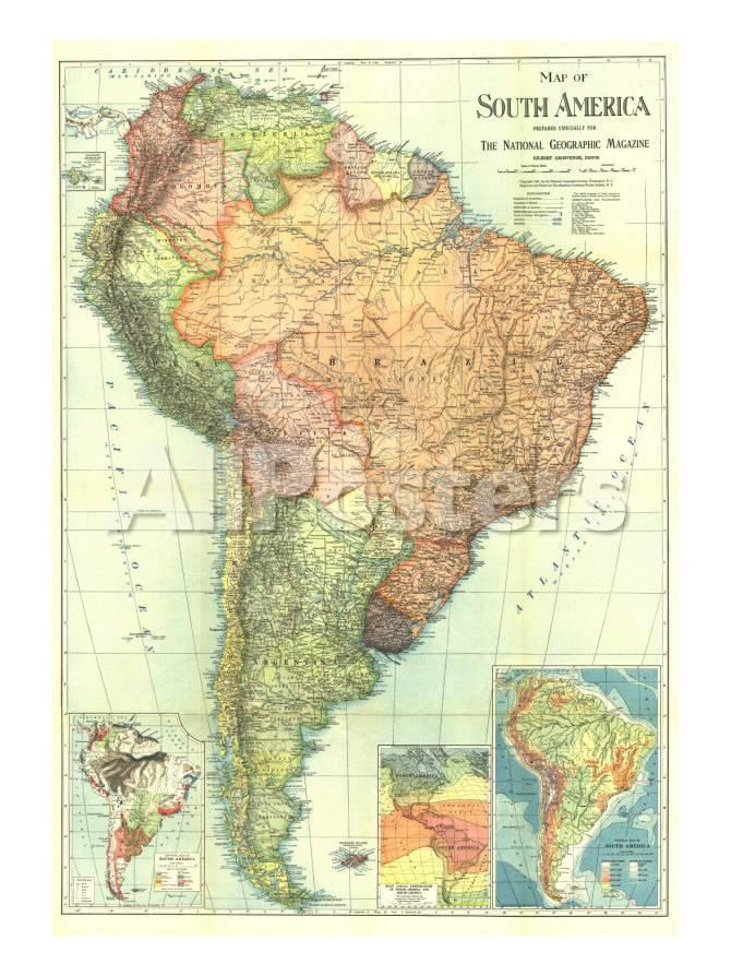 オールポスターズの 地図 ナショナル ジオグラフィック 1921 south