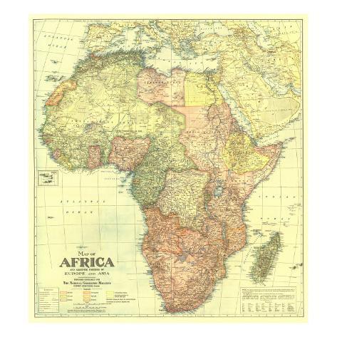 オールポスターズの 地図 ナショナル ジオグラフィック 1922 africa