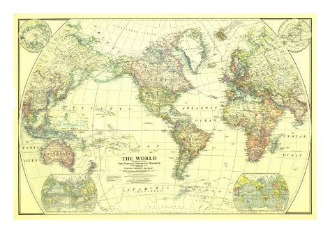 1922 World Map Art Print