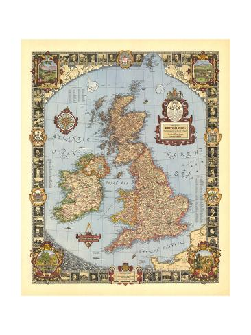 1937 A Modern Pilgrim's Map of the British Isles Art Print