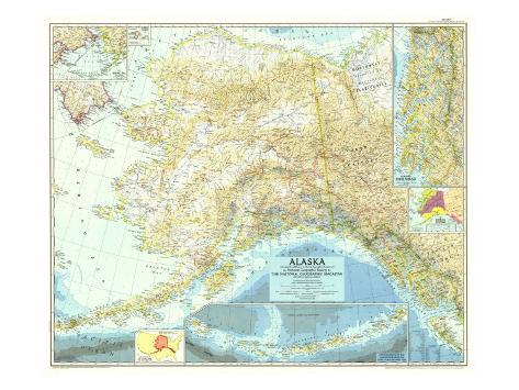 1956 Alaska Map Art Print