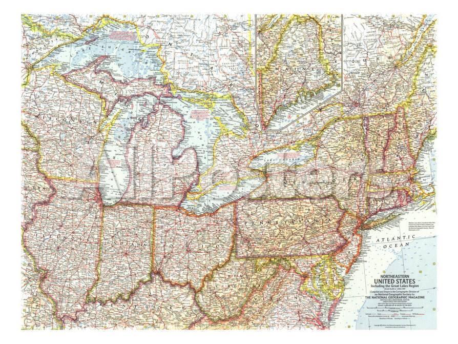 1959 Northeastern United States Map