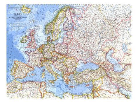 1962 Europe Map Art Print