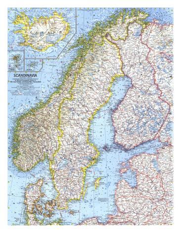 skandinavien karta 1963 Karta över Skandinavien   Affischer av National Geographic  skandinavien karta