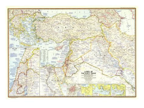 1967 Lands of the Bible Today Map Art Print