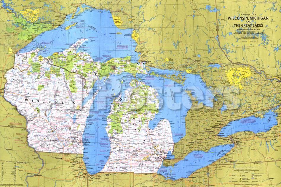 Closeup USA Wisconsin Michigan And The Great Lakes Map - Usa map great lakes
