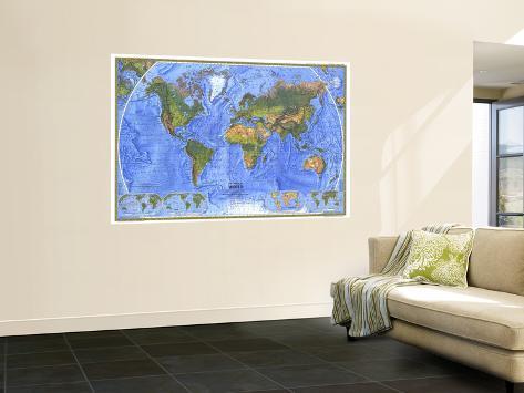 1975 Physical World Map Wall Mural