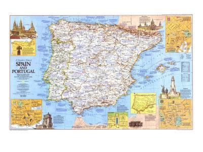 Map Of Spain To Print.1984 Travelers Map Of Spain And Portugal