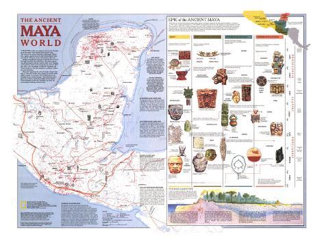 1989 Ancient Maya World Map Stampa artistica