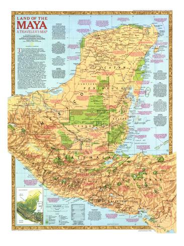 1989 Land of the Maya Map Stampa artistica