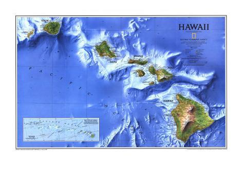 1995 Hawaii Map Art Print