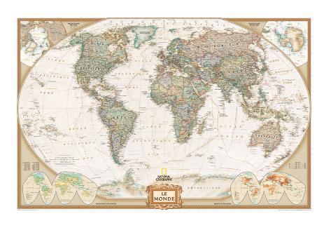 French executive world map lminas por national geographic maps en french executive world map lmina gumiabroncs Gallery