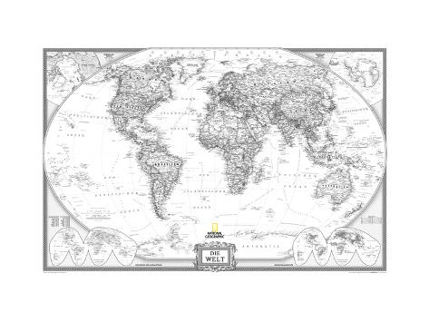 German Executive World Map Coloring Poster
