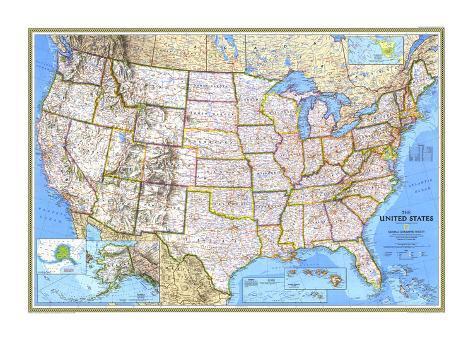 Kaart Verenigde Staten 1993 Kunstdruk
