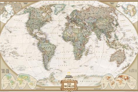 Mapa político del mundo, estilo ejecutivo Lámina