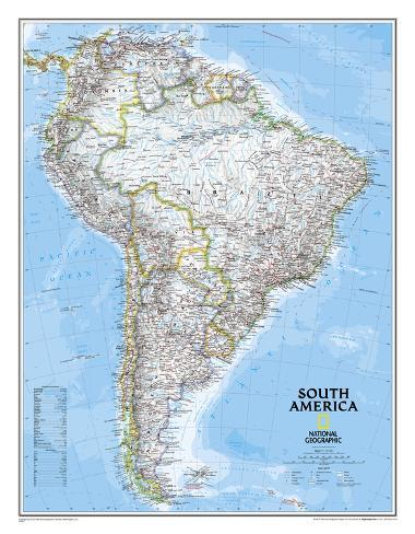 National Geographic - South America Classic Map, Enlarged & Laminated Poster Laminated Poster