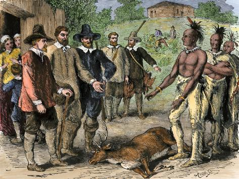 Native Americans Bringing a Deer to New England Colonists, 1600s Giclee Print