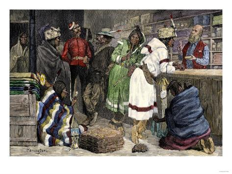 Native Americans Exchanging Furs for Goods at a Hudson Bay Company Post Giclee Print