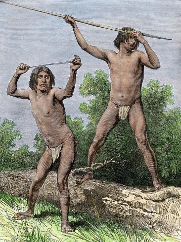 Native Hunters of Tierra Del Fuego with Spear and Sling Giclee Print