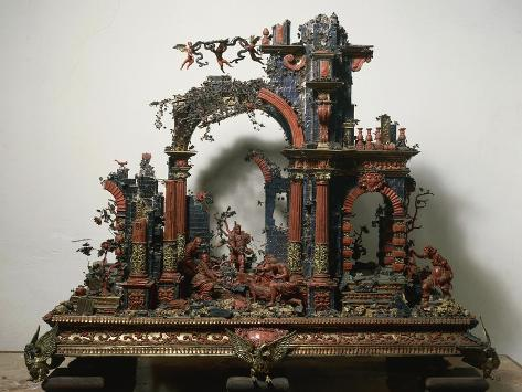 Nativity, Nativity Scene Made of Coral, Italy Giclee Print