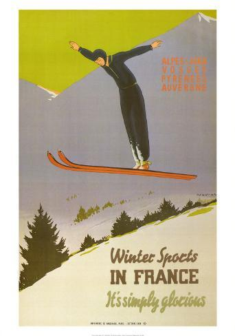 Winter Sports in France Art Print