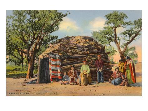 Navajos with Hogan Art Print