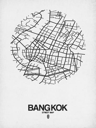 bangkok street map white prints by naxart at allposters Small Cities Thailand