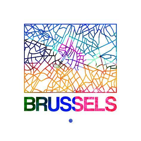 brussels watercolor street map