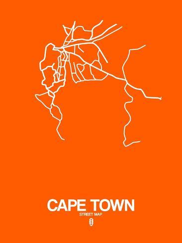 Cape Town Street Map Orange Prints by NaxArt - AllPosters.ca