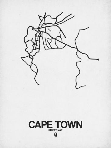 Cape Town Street Map White Art by NaxArt - AllPosters.ca