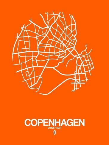 Copenhagen Street Map Orange Prints by NaxArt AllPostersca