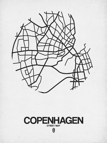 Copenhagen Street Map White Print by NaxArt at AllPosterscomau