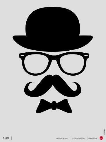Hat, Glasses, and Bow Tie Poster I Art Print