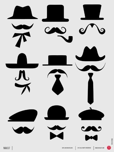Hats and Mustaches Poster I Art Print