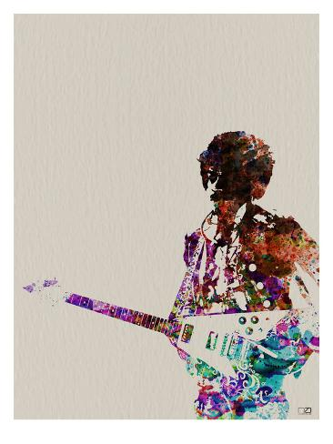 Hendrix With Guitar Watercolor Art Print