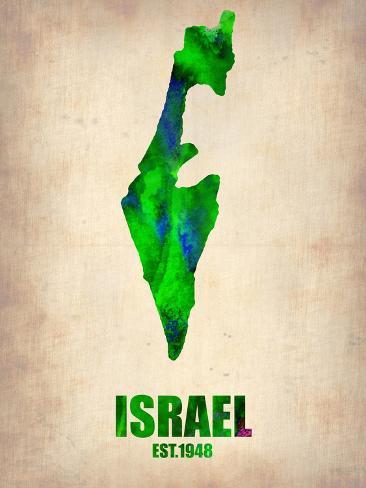 Israel Watercolor Map Art Print
