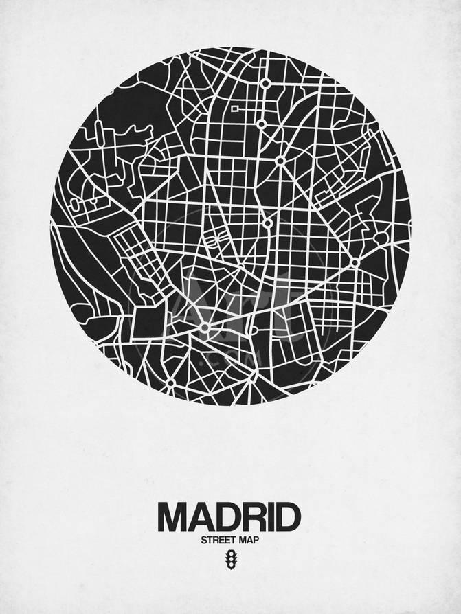 Madrid Street Map Black on White Poster by NaxArt at AllPosterscom