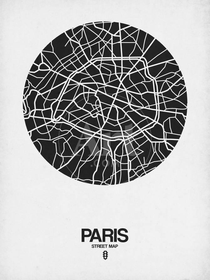 Paris Street Map Black on White Prints by NaxArt at AllPosters.com
