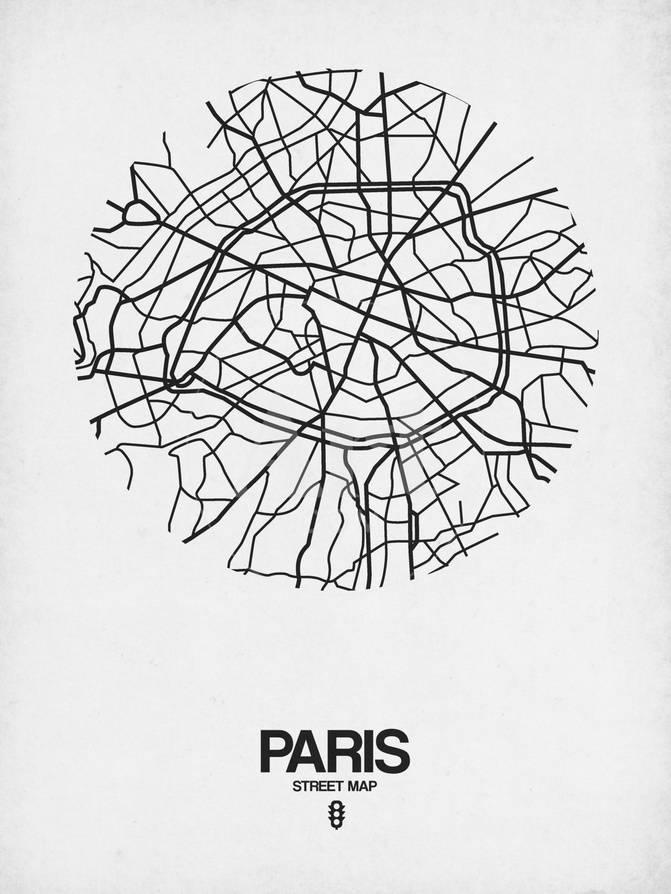 Paris Street Map White Print by NaxArt at AllPosters.com