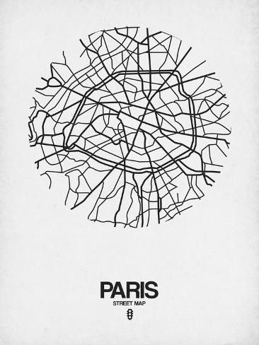 Paris Map Black And White.Paris Street Map White Print By Naxart At Allposters Com