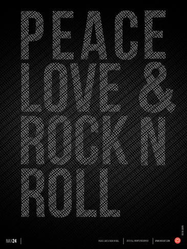 Peace Love and Rock N Roll Poster Plastic Sign